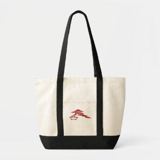 Bonsai silhouette, (röd) halv-kaskaden stil, tygkasse