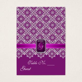 Bord för plommon- & silversnörebröllop som ställer visitkort