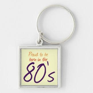 Bördigt 80-tal fyrkantig silverfärgad nyckelring