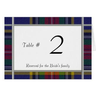 Bordsnummer för mottagande för MacBeth plädbröllop OBS Kort