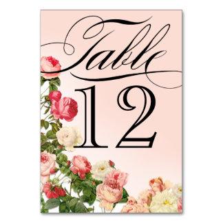 Bordsnummer för rosa ros för