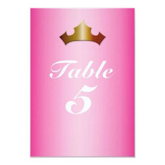 Bordsnummerkort för Princess Guld Kröna Rosa Festa 8,9 X 12,7 Cm Inbjudningskort