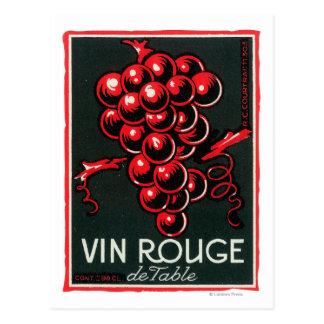 Bordsvin LabelEurope för Vin RougeDe Vykort