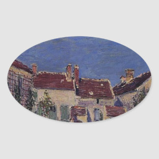 Borggård på Les Sablons av Alfred Sisley Ovalt Klistermärke