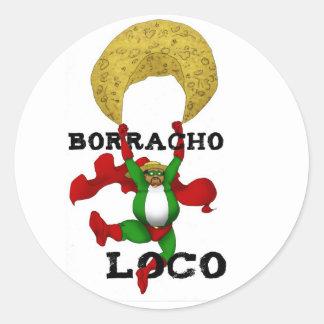 Borracho Locoklistermärke Runt Klistermärke
