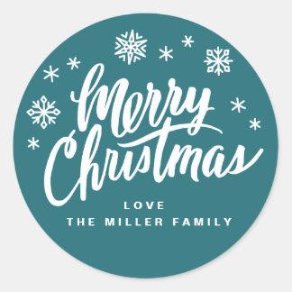 Borsta skrivar julklistermärken runt klistermärke