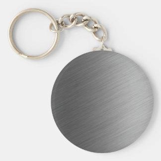 Borstad Aluminum metallLook Rund Nyckelring