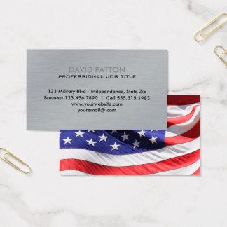 Borstad patriotisk militär för metallUSA flagga | Visitkort