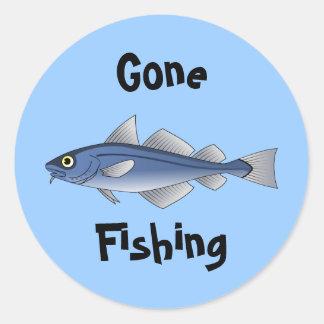 Borta fiske runt klistermärke