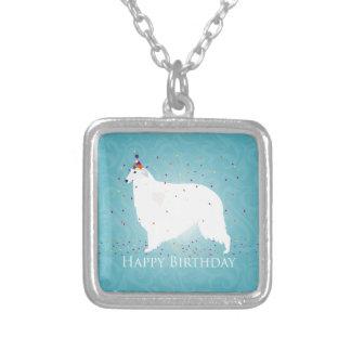 Borzoigrattis på födelsedagendesign halsband med fyrkantigt hängsmycke