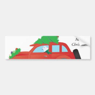 Borzoihundhund som kör bilen med julgranen bildekal