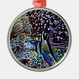 Bosatt rev och fisk rund silverfärgad julgransprydnad