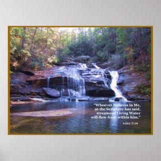 Bosatt TRYCK för AFFISCH för vattenJohn 7:38