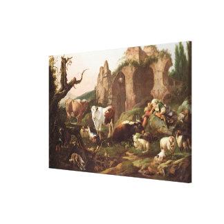 Boskap i en landskap, 1685 canvastryck