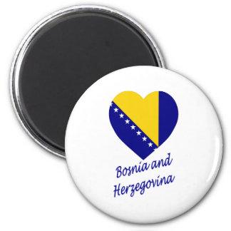 Bosnien & Herzegovina flaggahjärta Magnet Rund 5.7 Cm