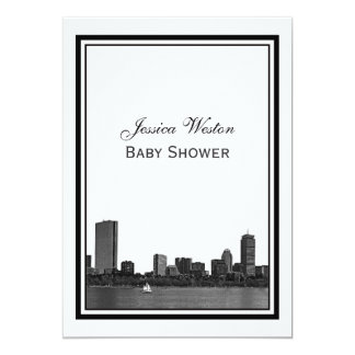 Boston horisont etsad inramad baby shower 12,7 x 17,8 cm inbjudningskort