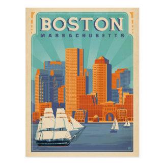 Boston horisont & segelbåtar   Massachusetts Vykort