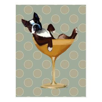 Boston Terrier i coctailexponeringsglas Vykort