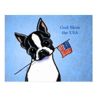 Boston Terrier i den Amerika Av-Koppel Art™ Vykort