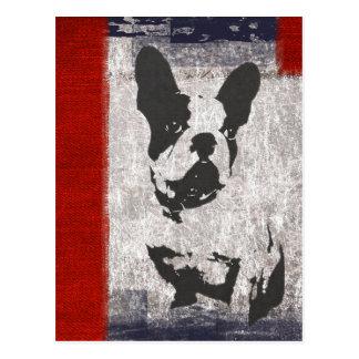 Boston Terrier i svartvitt med den röda gränsen Vykort