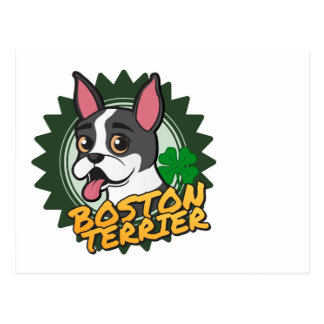 Boston Terrier med ett fyrklövert Vykort