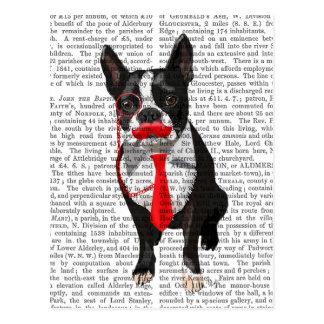 Boston Terrier med röd Tie och Moustache 2 Vykort