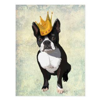 Boston Terrier och krona Vykort