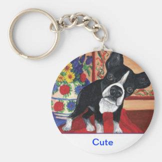 Boston Terrier Rund Nyckelring