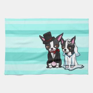 Boston Terrierbrud och brudgum Kökshandduk