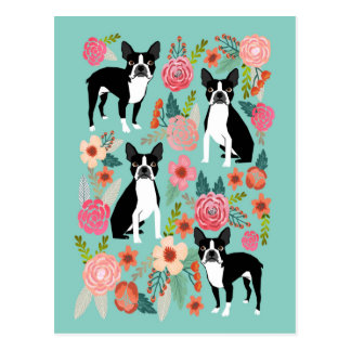 Boston Terriervår blommor - gullig boston terrier Vykort