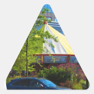 Boston USA Amerika grön naturfotografi Triangelformat Klistermärke