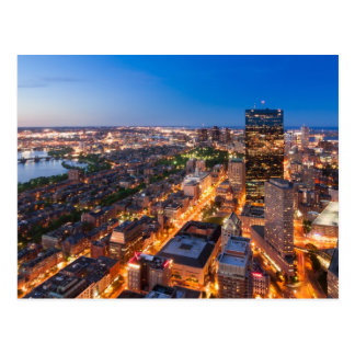 Bostons horisont på skymningen vykort