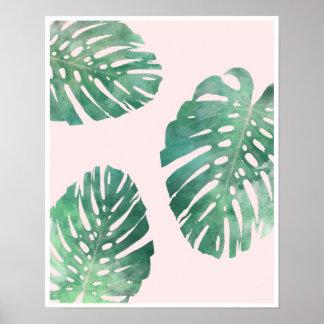 Botanisk affisch för rosa- och gröntmonsteralöv