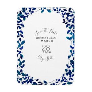 Botanisk bröllop spara datummagnet för blått magnet