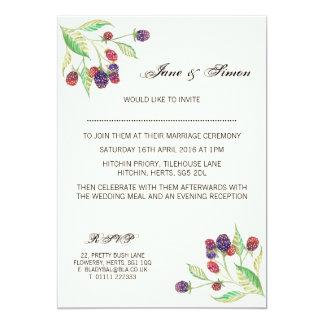 Botanisk bröllopinbjudan för engelska björnbär 12,7 x 17,8 cm inbjudningskort