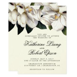 Botanisk bröllopinbjudan för sydlig Magnolia 12,7 X 17,8 Cm Inbjudningskort
