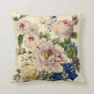 Botanisk bukett för vintage av blandade blommor kudde