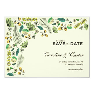 Botanisk mönsterspara datera 12,7 x 17,8 cm inbjudningskort