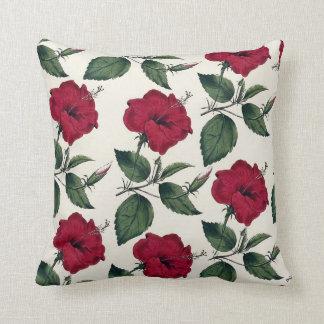 Botanisk vintagemörk - röd grön dekorativ kudde
