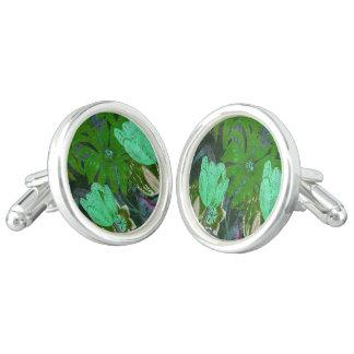 Botaniska tulpan för grön turkosvintage cufflinks
