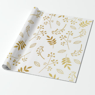 Botaniskt blom- lövFauxguld omkullkastar vit Presentpapper
