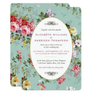 Botaniskt bröllop för vintageblommigtträdgård 12,7 x 17,8 cm inbjudningskort