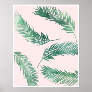 Botaniskt tryck för rosa- och gröntnaturaffisch