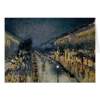 Boulevarde Montmartre på natt~ Camille Pissarro Hälsningskort