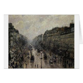 BoulevardMontmartre dimmig morgon av Camille… Hälsningskort