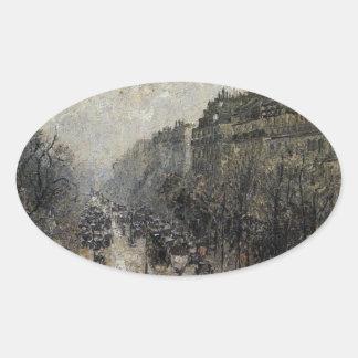 BoulevardMontmartre dimmig morgon av Camille… Ovalt Klistermärke