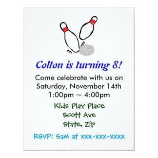Bowla inbjudan för stiftbarns födelsedagparty