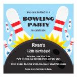 Bowla partyinbjudan med bowlingklotet, blått