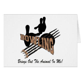 Bowlingen kommer med ut djur i mig hälsningskort
