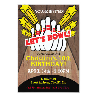 Bowlingfödelsedagkort med stift 8,9 x 12,7 cm inbjudningskort